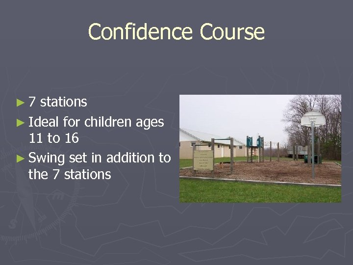 Confidence Course ► 7 stations ► Ideal for children ages 11 to 16 ►
