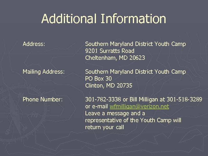 Additional Information Address: Southern Maryland District Youth Camp 9201 Surratts Road Cheltenham, MD 20623