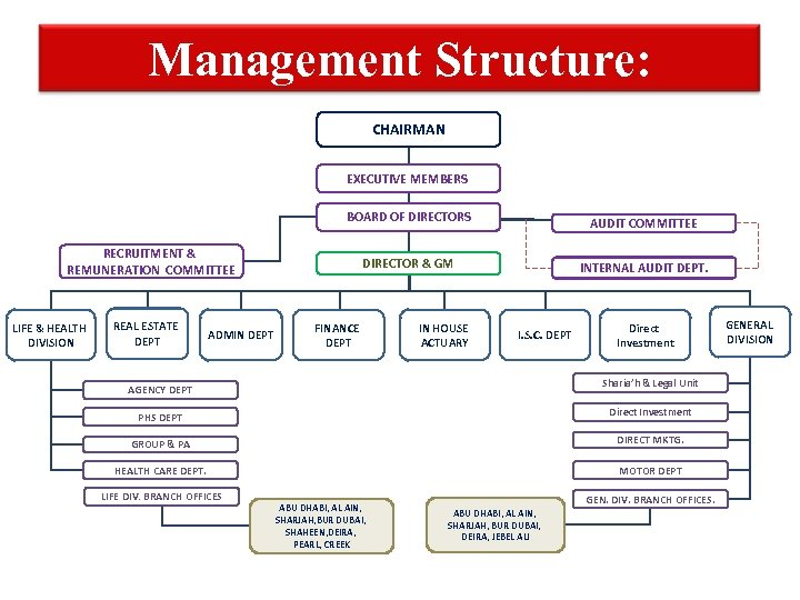 Management Structure: CHAIRMAN EXECUTIVE MEMBERS BOARD OF DIRECTORS AUDIT COMMITTEE DIRECTOR & GM INTERNAL