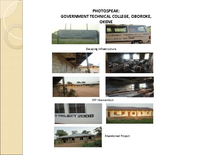 PHOTOSPEAK: GOVERNMENT TECHNICAL COLLEGE, OBOROKE, OKENE Decaying Infrastructure ETF Intervention Abandoned Project