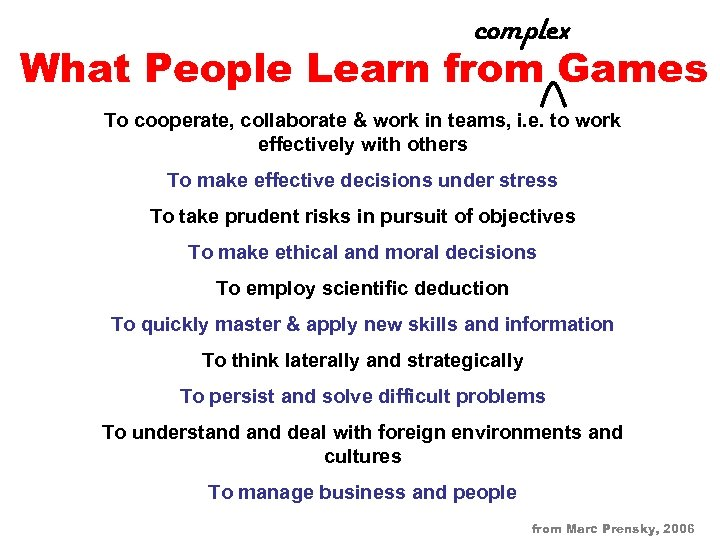 complex What People Learn from Games To cooperate, collaborate & work in teams, i.