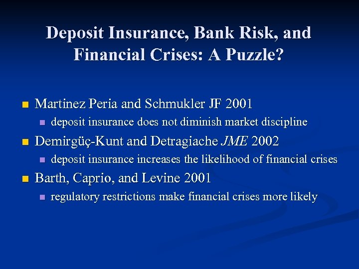 Deposit Insurance, Bank Risk, and Financial Crises: A Puzzle? n Martinez Peria and Schmukler