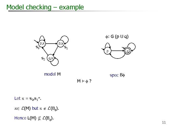 Model checking – example : G (p U q) s 0 p, y p,