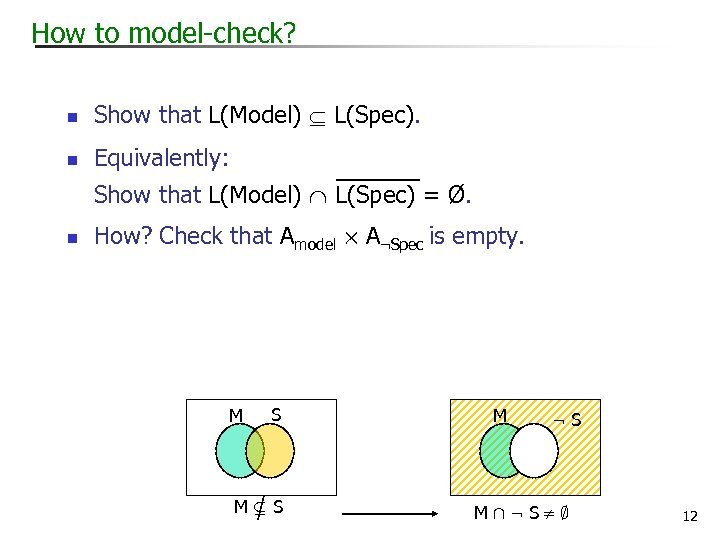 How to model-check? n Show that L(Model) L(Spec). n Equivalently: Show that L(Model) L(Spec)