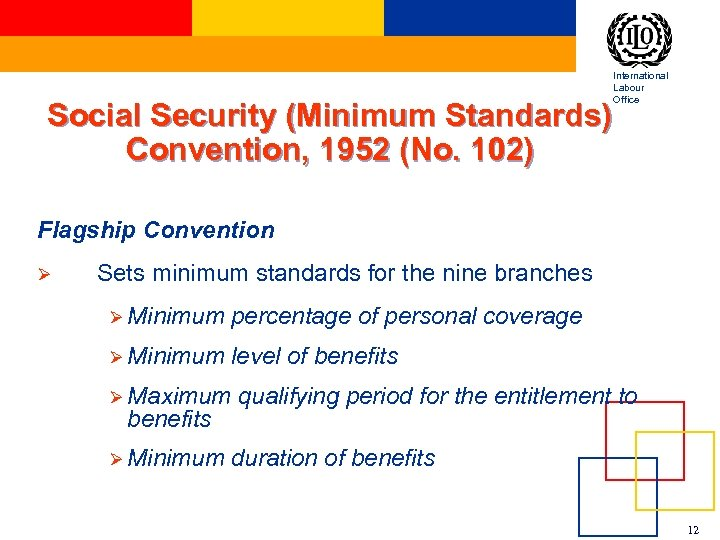 International Labour Office Social Security (Minimum Standards) Convention, 1952 (No. 102) Flagship Convention Ø