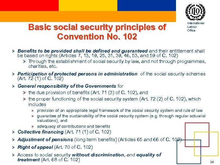 Basic social security principles of Convention No. 102 International Labour Office Ø Benefits to