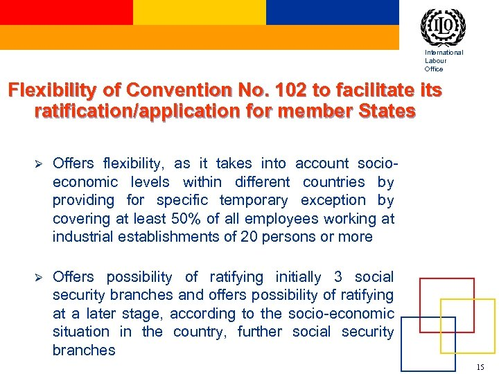 International Labour Office Flexibility of Convention No. 102 to facilitate its ratification/application for member