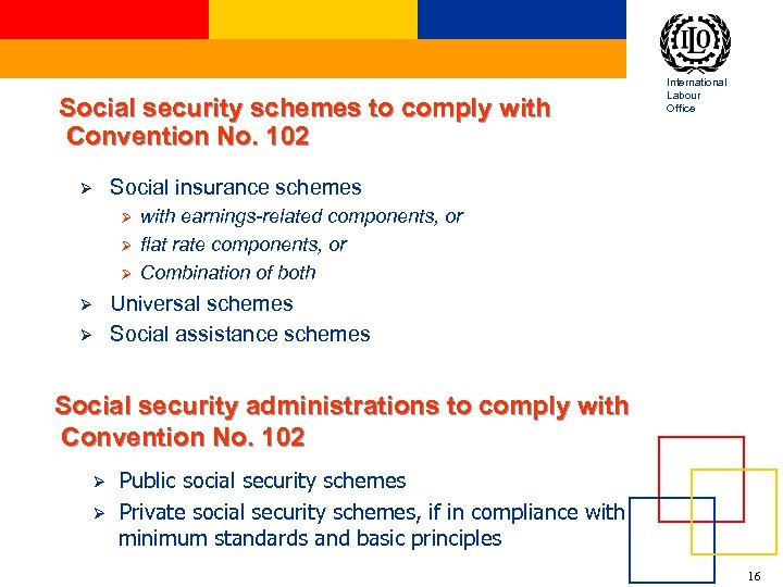 Social security schemes to comply with Convention No. 102 Ø Social insurance schemes