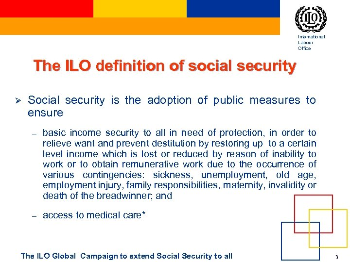 International Labour Office The ILO definition of social security Ø Social security is the
