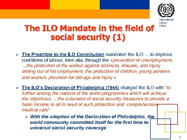 The ILO Mandate in the field of social security (1) International Labour Office Ø