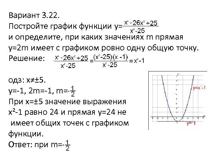 Вариант 3. 22. Постройте график функции y= и определите, при каких значениях m прямая