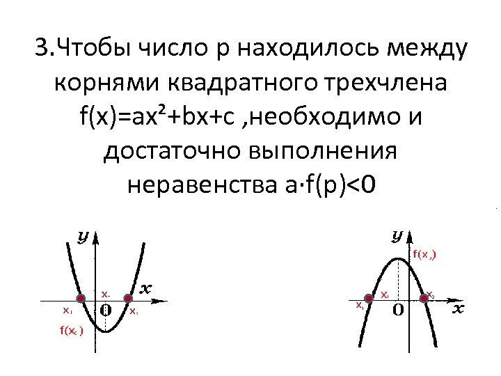 3. Чтобы число p находилось между корнями квадратного трехчлена f(x)=ax²+bx+c , необходимо и достаточно