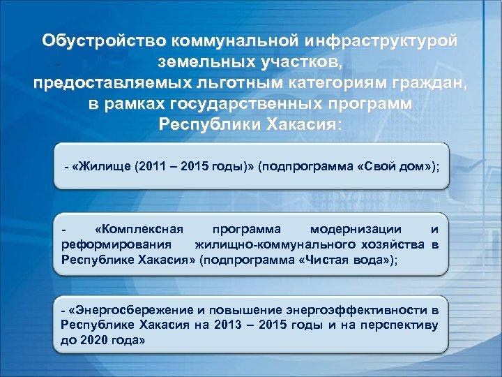 Обустройство коммунальной инфраструктурой земельных участков, предоставляемых льготным категориям граждан, в рамках государственных программ Республики
