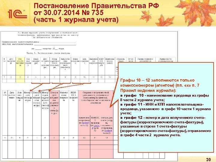 Постановление Правительства РФ от 30. 07. 2014 № 735 (часть 1 журнала учета) Графы