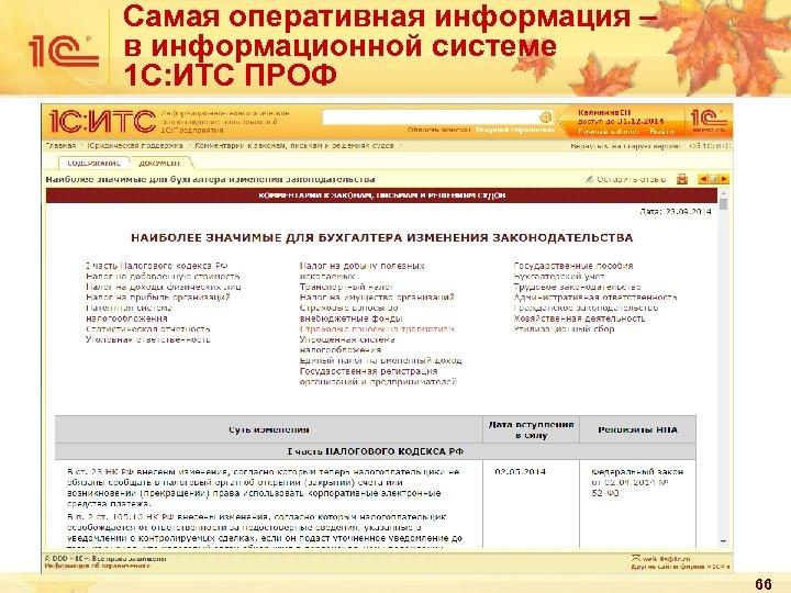 Самая оперативная информация – в информационной системе 1 С: ИТС ПРОФ 66