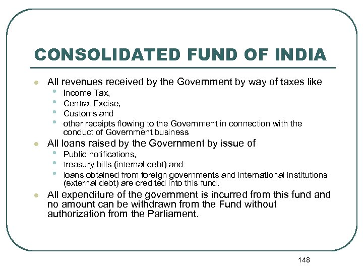 CONSOLIDATED FUND OF INDIA l l l All revenues received by the Government by