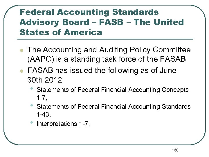 Federal Accounting Standards Advisory Board – FASB – The United States of America l