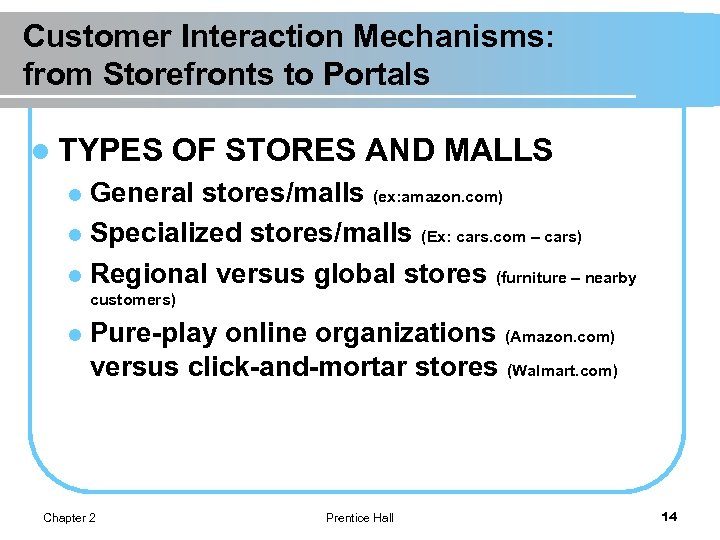 Customer Interaction Mechanisms: from Storefronts to Portals l TYPES OF STORES AND MALLS General