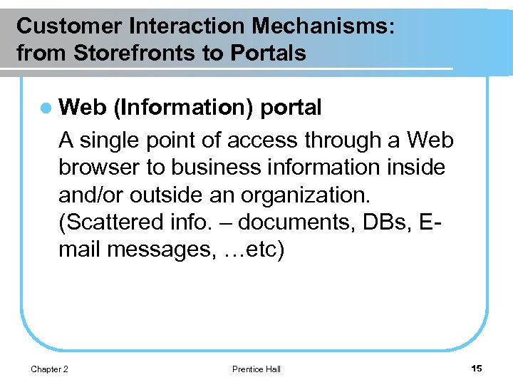 Customer Interaction Mechanisms: from Storefronts to Portals l Web (Information) portal A single point