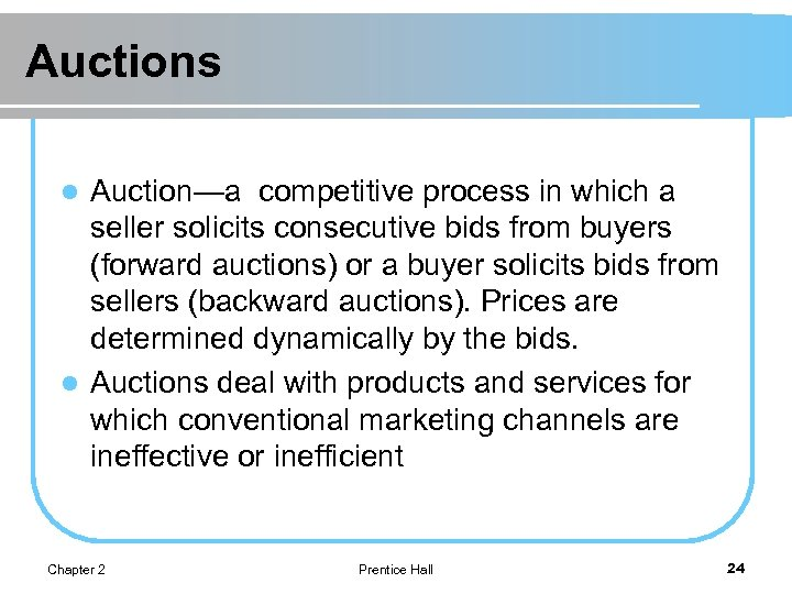 Auctions Auction—a competitive process in which a seller solicits consecutive bids from buyers (forward