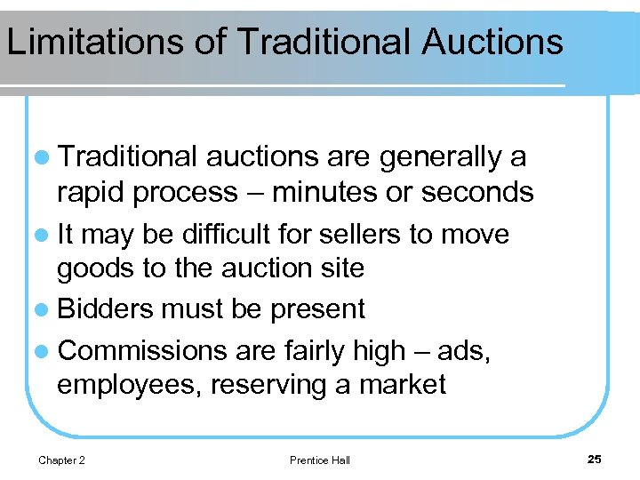 Limitations of Traditional Auctions l Traditional auctions are generally a rapid process – minutes