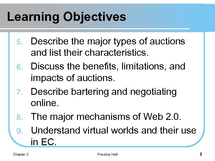 Learning Objectives 5. 6. 7. 8. 9. Chapter 2 Describe the major types of