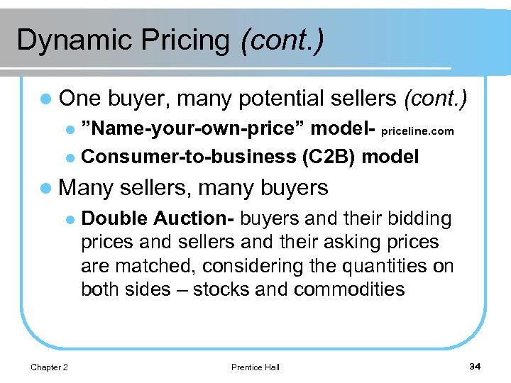 """Dynamic Pricing (cont. ) l One buyer, many potential sellers (cont. ) """"Name-your-own-price"""" model-"""