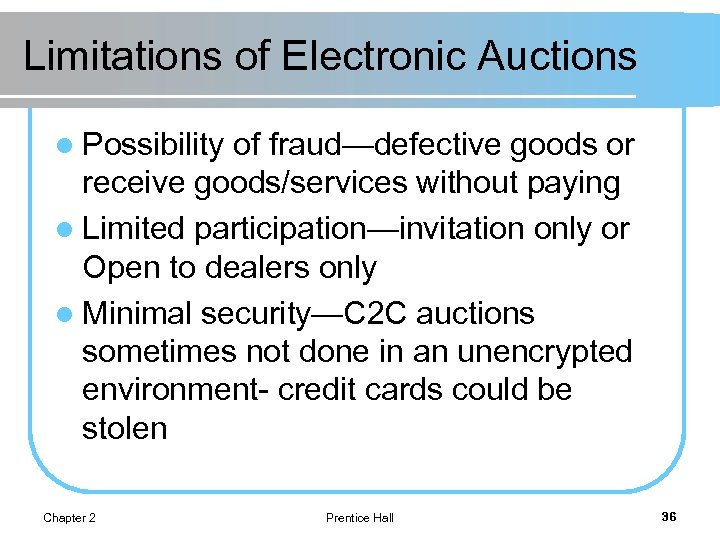 Limitations of Electronic Auctions l Possibility of fraud—defective goods or receive goods/services without paying