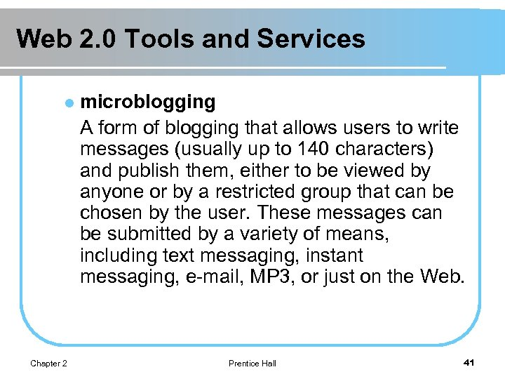 Web 2. 0 Tools and Services l Chapter 2 microblogging A form of blogging
