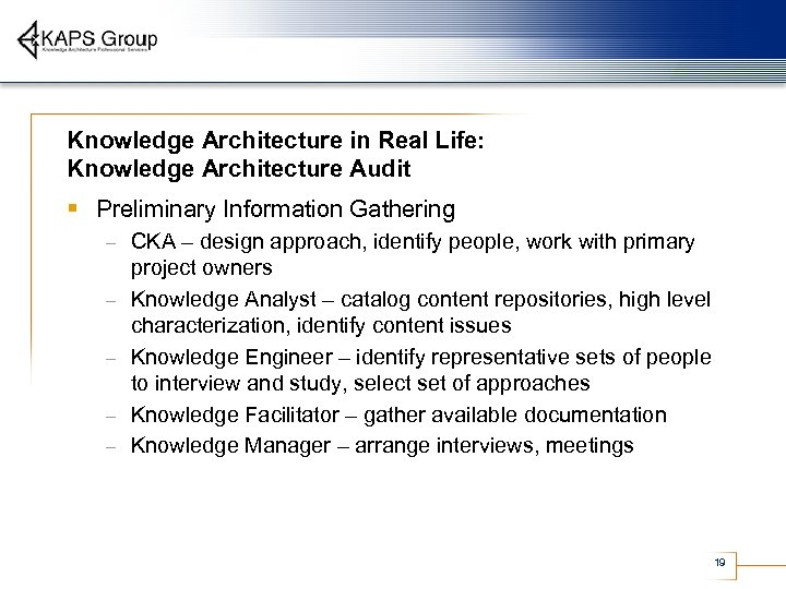 Knowledge Architecture in Real Life: Knowledge Architecture Audit § Preliminary Information Gathering – –