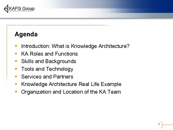 Agenda § § § § Introduction: What is Knowledge Architecture? KA Roles and Functions