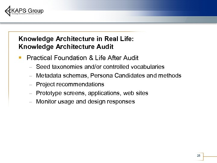 Knowledge Architecture in Real Life: Knowledge Architecture Audit § Practical Foundation & Life After