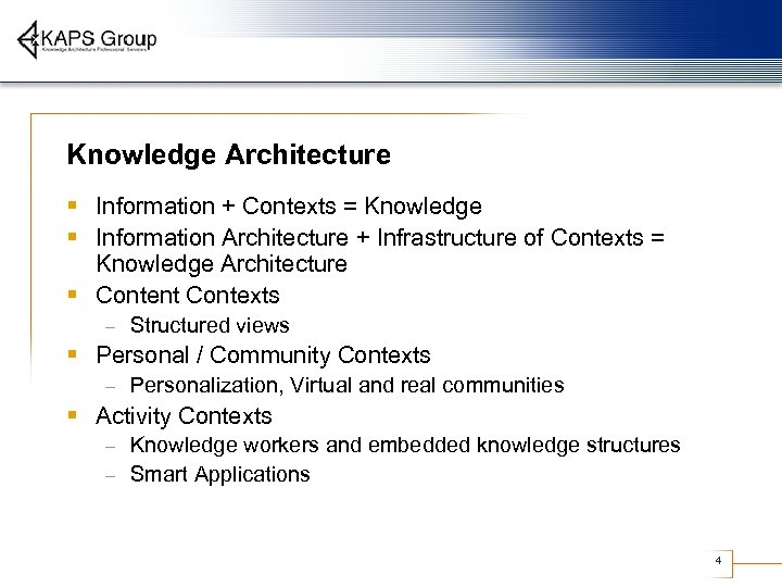Knowledge Architecture § Information + Contexts = Knowledge § Information Architecture + Infrastructure of