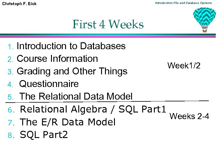 Introduction File and Database Systems Christoph F. Eick First 4 Weeks Introduction to Databases