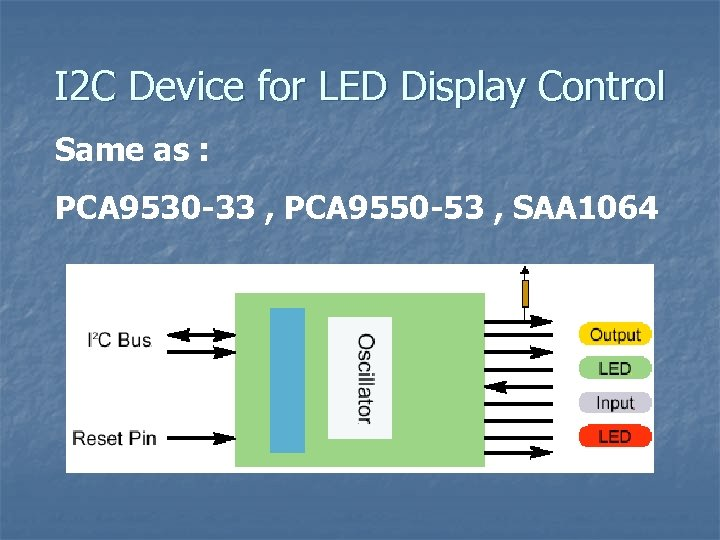 I 2 C Device for LED Display Control Same as : PCA 9530 -33