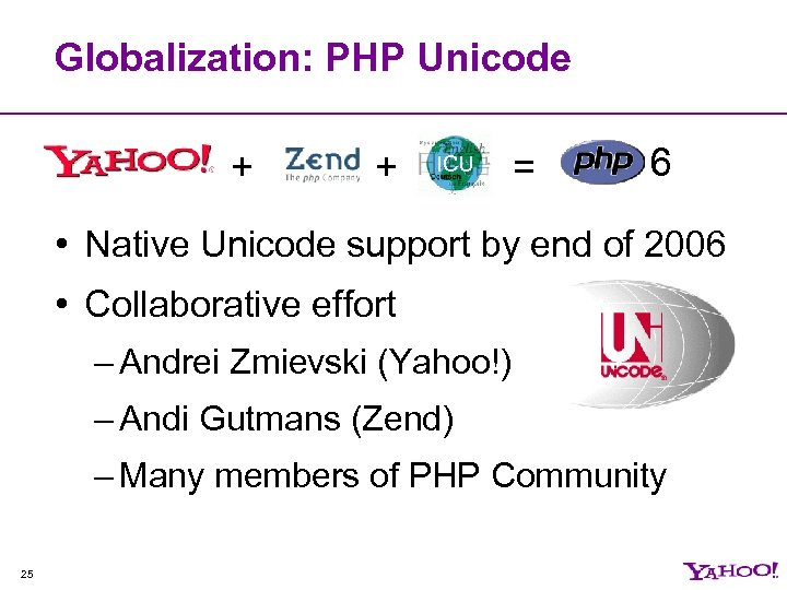Globalization: PHP Unicode + + ICU = 6 • Native Unicode support by end