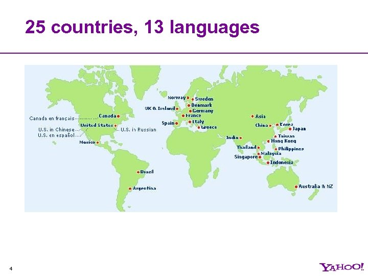 25 countries, 13 languages 4