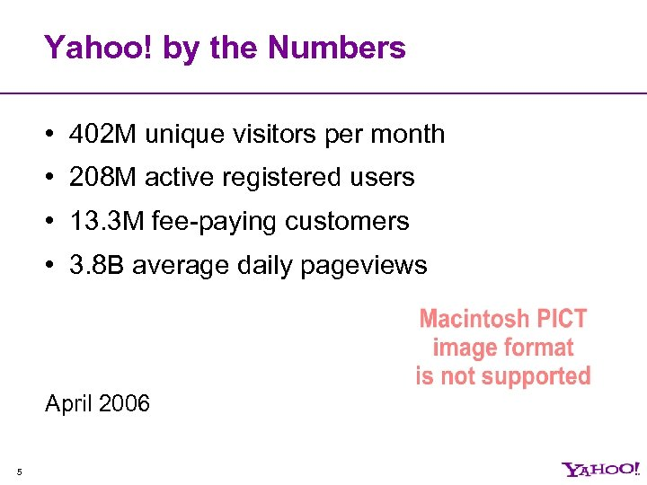Yahoo! by the Numbers • 402 M unique visitors per month • 208 M