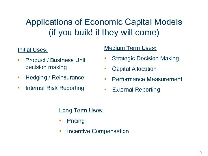 Applications of Economic Capital Models (if you build it they will come) Initial Uses: