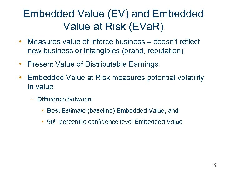 Embedded Value (EV) and Embedded Value at Risk (EVa. R) • Measures value of