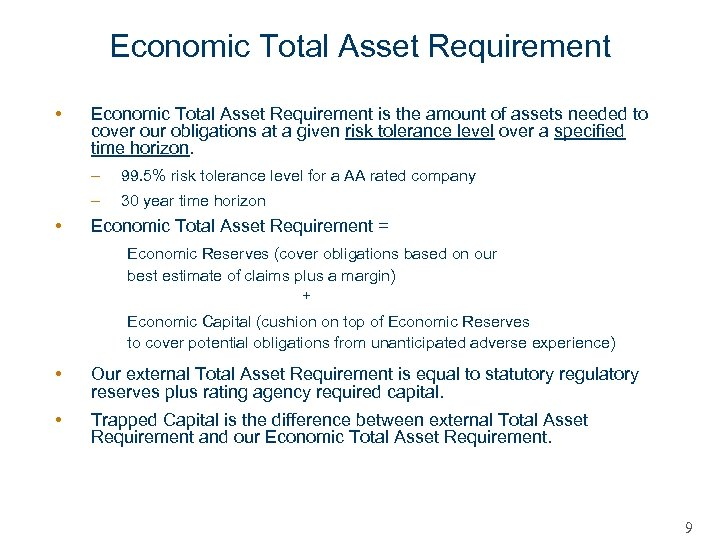 Economic Total Asset Requirement • Economic Total Asset Requirement is the amount of assets