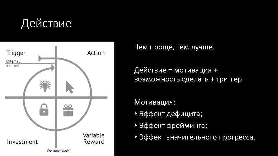 Действие Чем проще, тем лучше. Действие = мотивация + возможность сделать + триггер Мотивация: