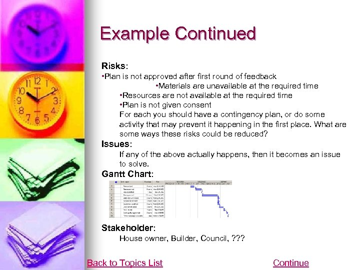 Example Continued Risks: • Plan is not approved after first round of feedback •