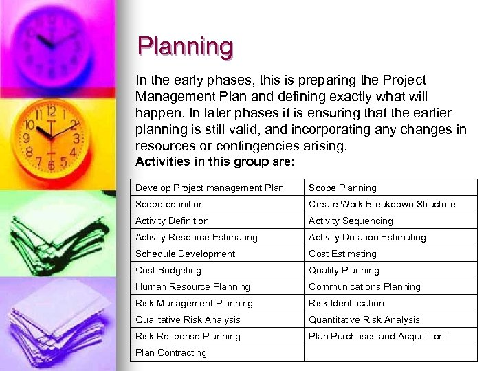 Planning In the early phases, this is preparing the Project Management Plan and defining