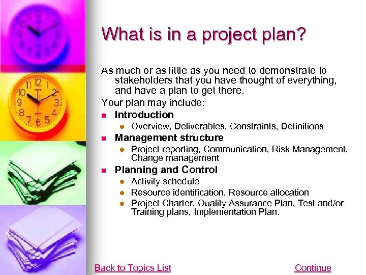 What is in a project plan? As much or as little as you need