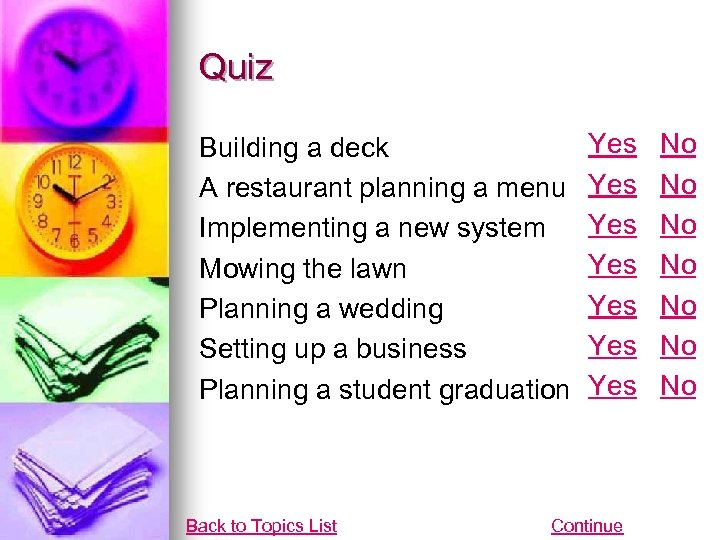 Quiz Building a deck A restaurant planning a menu Implementing a new system Mowing