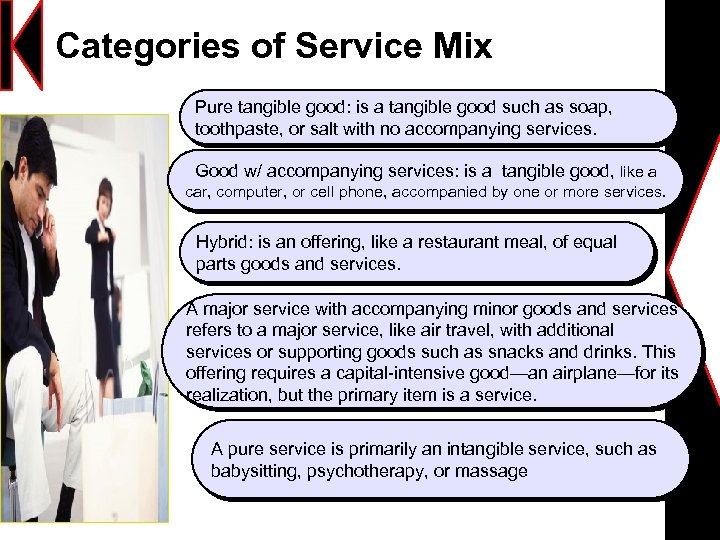 tangible good with accompanying services 2 tangible good with accompanying services: the offering consists of a tangible good accompanied by one or more services general motors, for example, offers repairs, maintenance, warranty fulfillment, and other services along with its cars and trucks.