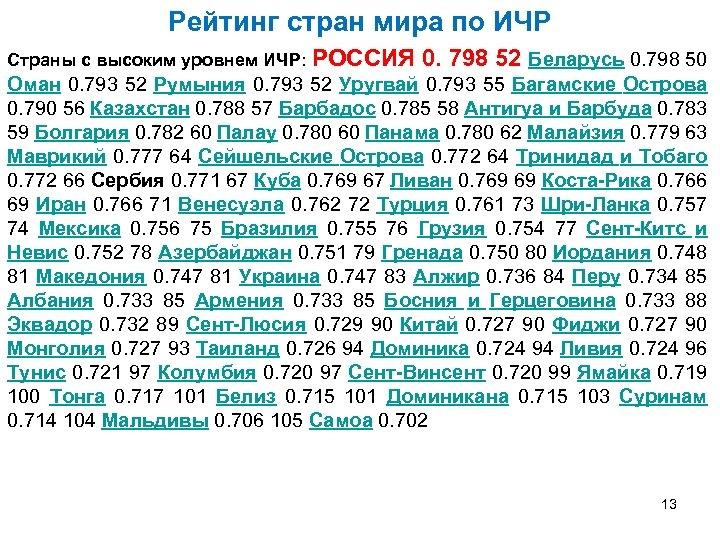Рейтинг стран мира по ИЧР Страны с высоким уровнем ИЧР: РОССИЯ 0. 798 52