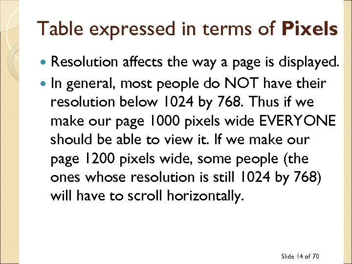 Table expressed in terms of Pixels Resolution affects the way a page is displayed.