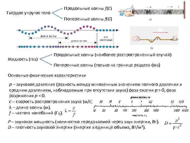 Твердое упругое тело Продольные волны f(E) Поперечные волны f(G) Жидкость (газ) Продольные волны (наиболее